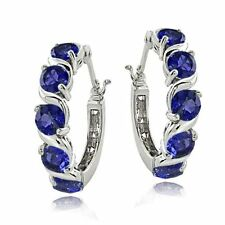 Blue Sapphire Sterling Silver Fine Earrings