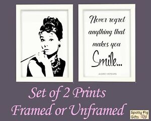 Audrey Hepburn Prints Wall Art Set of 2 Quote Framed Picture Poster Film A4 A3