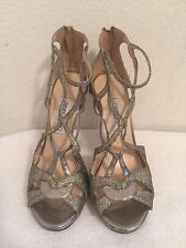 Jimmy Choo Light Bronze Glitter Vermeil Strappy Ankle Sandal Shoes Size 38.5