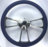 "14"" Polished Billet Steering Wheel (Royal Blue Half Wrap and Horn Button)"