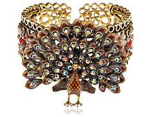 Golden Brown Topaz Enamel Crystal Rhinestone Peacock Bird Bracelet Bangle Cuff