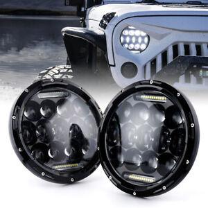 Xprite 75W Round LED Headlights Halo DRL Hi/Lo Beam for 1997-2018 Jeep Wrangler