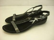 Women's 9 M Anne Klein Sport Karmina Wedge Sandals Black Silver Jeweled T-Strap