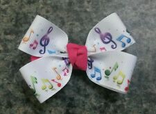 Set of 2 Music notes hair bows girl alligator clip pink yellow purple blue