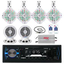 """Marine 8"""" LED Speaker Set, 6.5"""" Speakers,Antenna, Amplifier,Pyle Bluetooth Radio"""