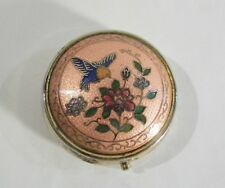 Vintage Trinket Pill Box Metal w Bird Design Cloisonne Lid