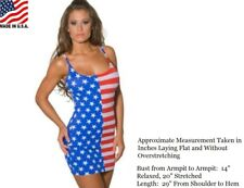 USA FLAG DRESS STARS AND STRIPES TANK FORM FITTING O/S S - L