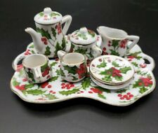 Vintage Miniature Tea Set*Christmas*Holly*Berries*Ceramic*Red*Green*Teapot*