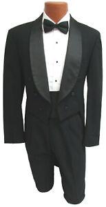 Men's Black Tuxedo Tailcoat Fulldress 6 Button Shawl Lapel Jacket Tux Tails Coat
