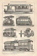 B0459 Locomotive a Vapore - Xilografia d'epoca - 1903 Vintage engraving