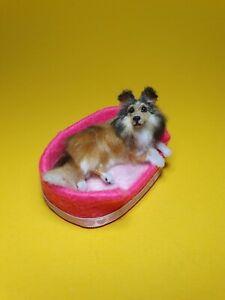 OOAK Realistic ~sheltie dog ~  Dollhouse Handmade IGMA ARTISAN