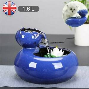 1.6L Blue Lotus Pet Drinking Water Fountain Cat Electric Automatic Bowl Filter
