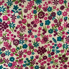 Colourful retro floral Wipe-Clean table cloth PVC Oilcloth Per Metre