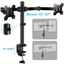 """13""""- 27"""" Double Dual Display Computer Screen Monitor Arm Mount Desk Stand LED PC"""