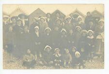 Groupe des Enfants a la Plage PHOTO CPA Antique RPPC French 1910s