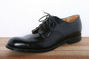Vintage 80's B.B. WALKER Finished Black Leather Military Oxfords Sz. 11.5 N