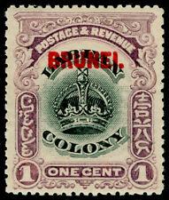 More details for brunei sg11, 1c black & purple, lh mint. cat £50.
