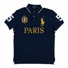 POLO RALPH LAUREN BIG PONY PARIS City ROYAL CREST NAVY BLUE GOLD SHIRT XXL