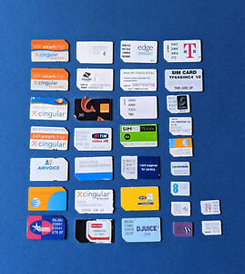collectible sim cards of various worldwide network providers non working
