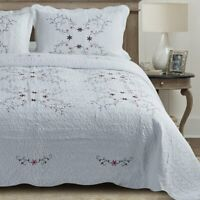Luxury 100% Cotton White Embroidered Floral Quilted Bedspread Throw