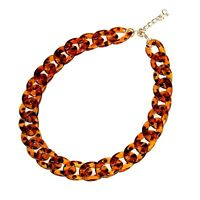 NEW Chunky Tortoise Shell Oval Link Necklace Collar Bib Statement Brown Black