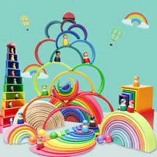 Wooden Building Blocks Set for Kids Rainbow Stacker Stacking Construction Toys