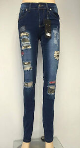 New Womens Ladies Skinny Fit Ripped Denim Jeans With Badges Sizes 6-14