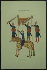 Español Guerreros 11th Century Henry Shaw 1858 mano Color Grabado/impresión