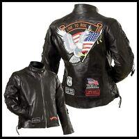 Blouson en cuir femme Aigle / live to ride Dispo S à 3XL ( biker harley custom )