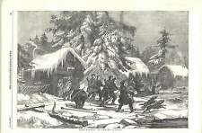 1856 Bear Hunting In Sweden Setting Out Rifle Knife Pole Sledge