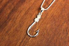 Hawaiian Jewelry Genuine 925 Sterling Silver Fish Hook Pendant Necklace SP59001