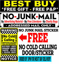 No Junk Mail Vinyl Letterbox Sticker, FREE No Cold Callers Sign (LYC) FREE P&P