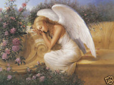Beautiful Matted Angel at Rest Foil Art Print~Affordable Art~8x10