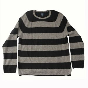 Gap Men's Wool Gray & Black Striped Sweater Size X-Large