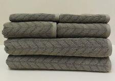 New Calvin Klein Home Gray Chevron Bath Towels~6 Piece Set Bath/Hand/Wash Cloth