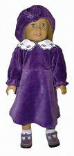 Purple Velour Dress 3pc Set Fits 18 inch American Girl Dolls