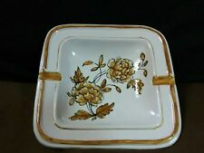 Lovely Vtg. FZR Florence Italy Pottery Hand Painted Brown Florals Ash Tray