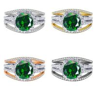 18k Gold Plated Brilliant Emerald Wedding Engagement Silver Ring Set 2.35 Ct