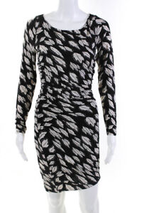 Tracy Reese Womens Long Sleeve Scoop Neck Mini Leaf Shirt Dress Black Size Small