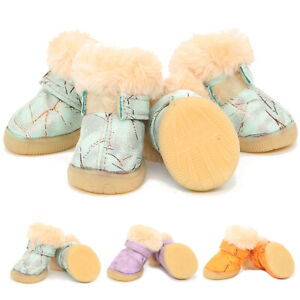 4Pcs Pet Dog Puppy Shoes Boots Anti Slip Paw Protective Fleece Lined Waterproof