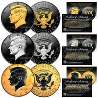 1964 BU Silver JFK Half Dollars 2-Sided BLACK RUTHENIUM - Set of All 3 Versions