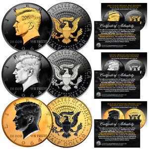 1964 BU Silver JFK Half Dollars 2-Sided BLACK RUTHENIUM - Set of All 3 Versions