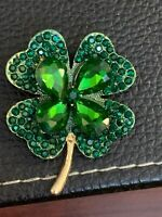 Green Crystal Shamrock 4Leaf Clover Vintage Gold Pin Brooch D-1386