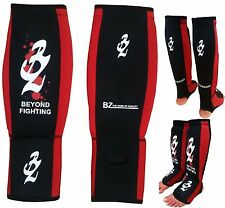 BZ Neoprene Shin Instep Foot Pads MMA Leg Kick Guards Muay Thai Boxing Kick Pad