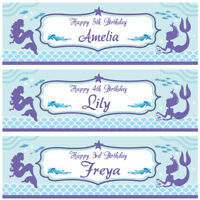 2 personalised birthday banner mermaid children kid girl party poster decoration