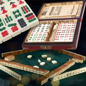 Traditional Mahjong 144 Tiles Mah Jong Home Game Set Chinese Instructions