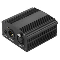 1CH 48V Phantom Power Supply For Condenser Microphone Black DT
