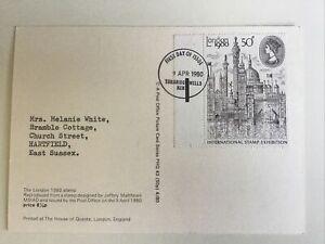 GB QEII 1980 London 50p FDI PHQ 43 Tunbridge Wells HS To Rear Typed Address