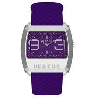 Versus by Versace Men's 3C60900000 Angle Steel Rectangular Purple Leather Watch