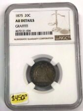 1875-P 20 Cent Piece Seated Liberty Graded NGC AU details - Graffiti